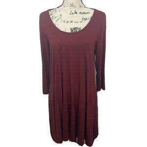 LULU'S Wine Red Long Sleeve Swing Dress Tunic